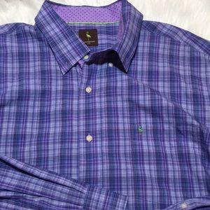 Tailorbyrd Mens Button Down Dress Shirt 2XL Purple